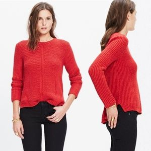 Madewell Hexcomb Texture Red Sweater